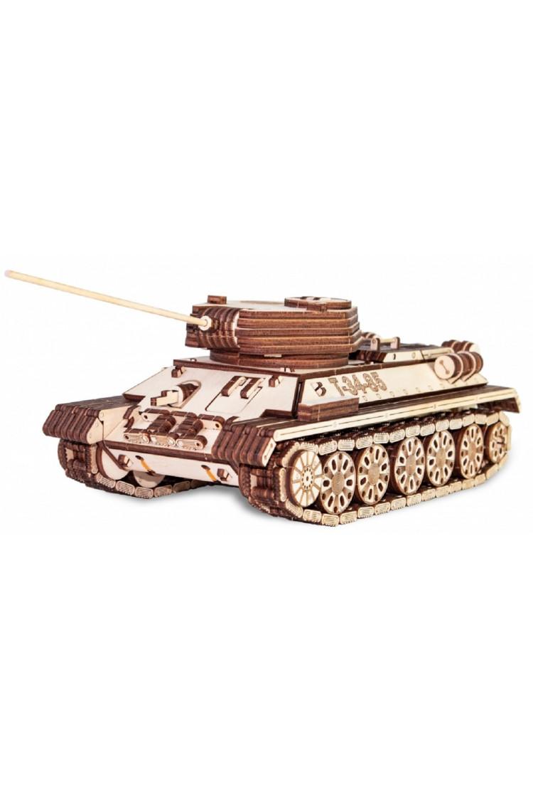 Сборная модель из дерева EWA Танк Т-34-85 механический (33х12,8х9,5 см)