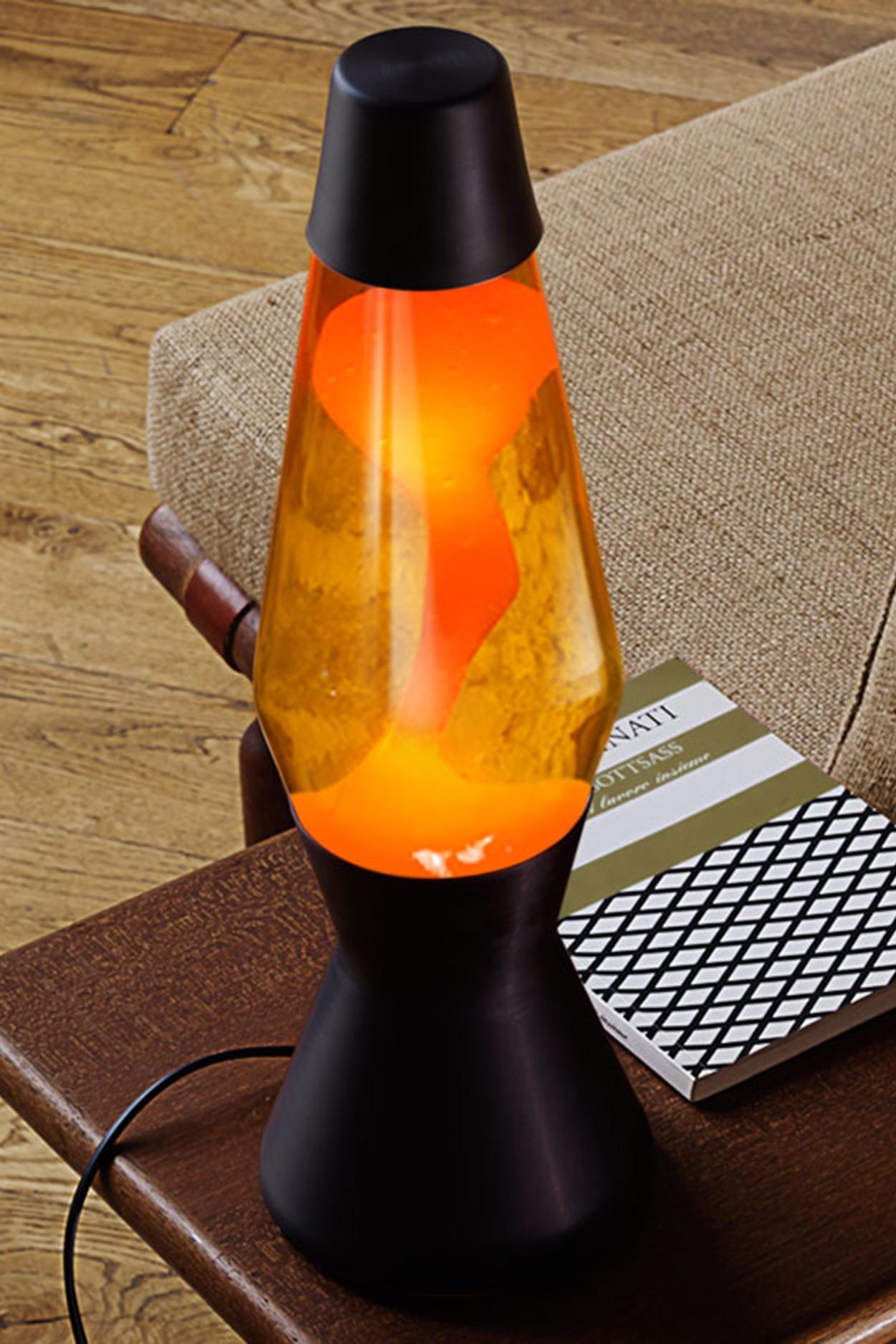 Лава-лампа Mathmos Astro Оранжевая/Желтая Matt Black (Воск)