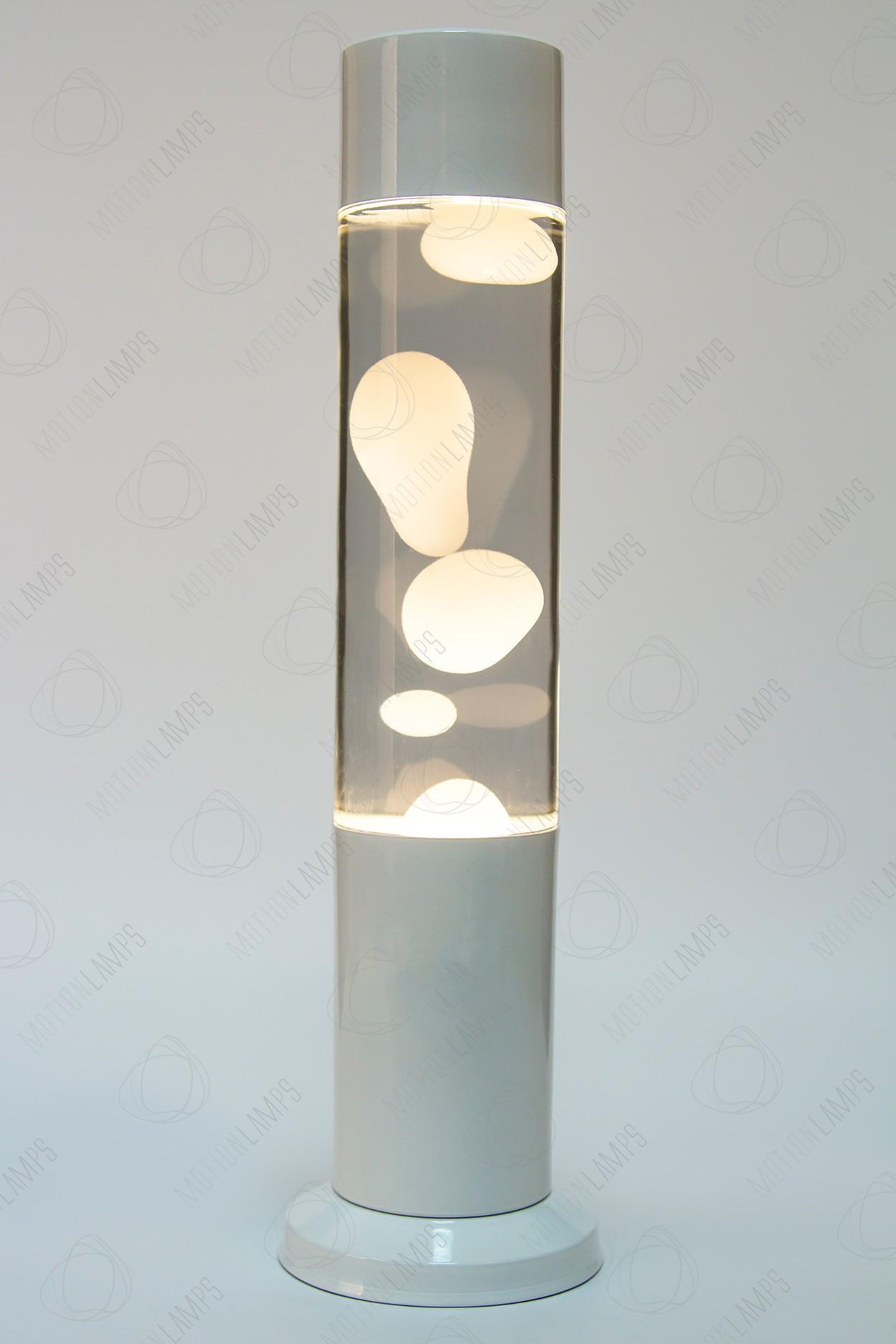 Лава-лампа 38см  Белая/Прозрачная (Воск)