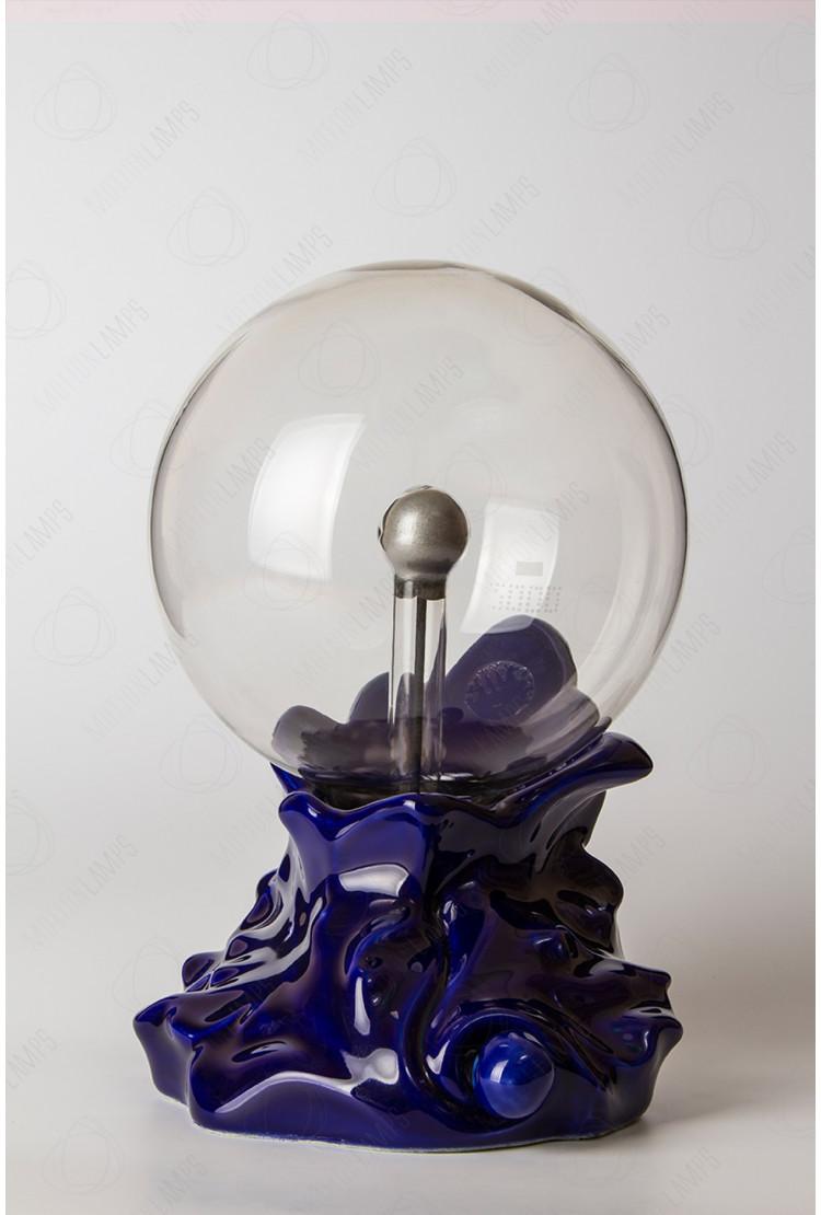 """Плазменный шар """"Каменный цветок"""" (16см) синий"""