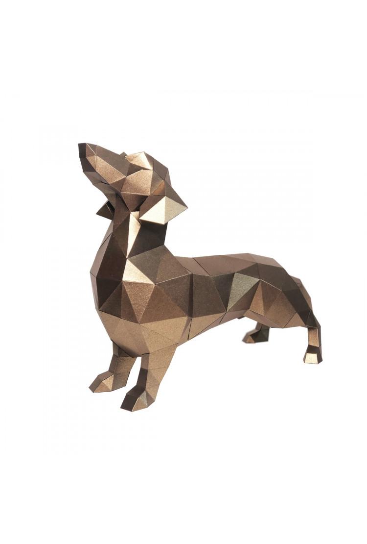"""3D Фигура """"Такса Алекс"""", бронзовый, набор для творчества"""