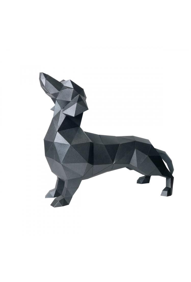 """Полигональная фигура для сборки """"Такса Алекс (чёрная) paperraz"""
