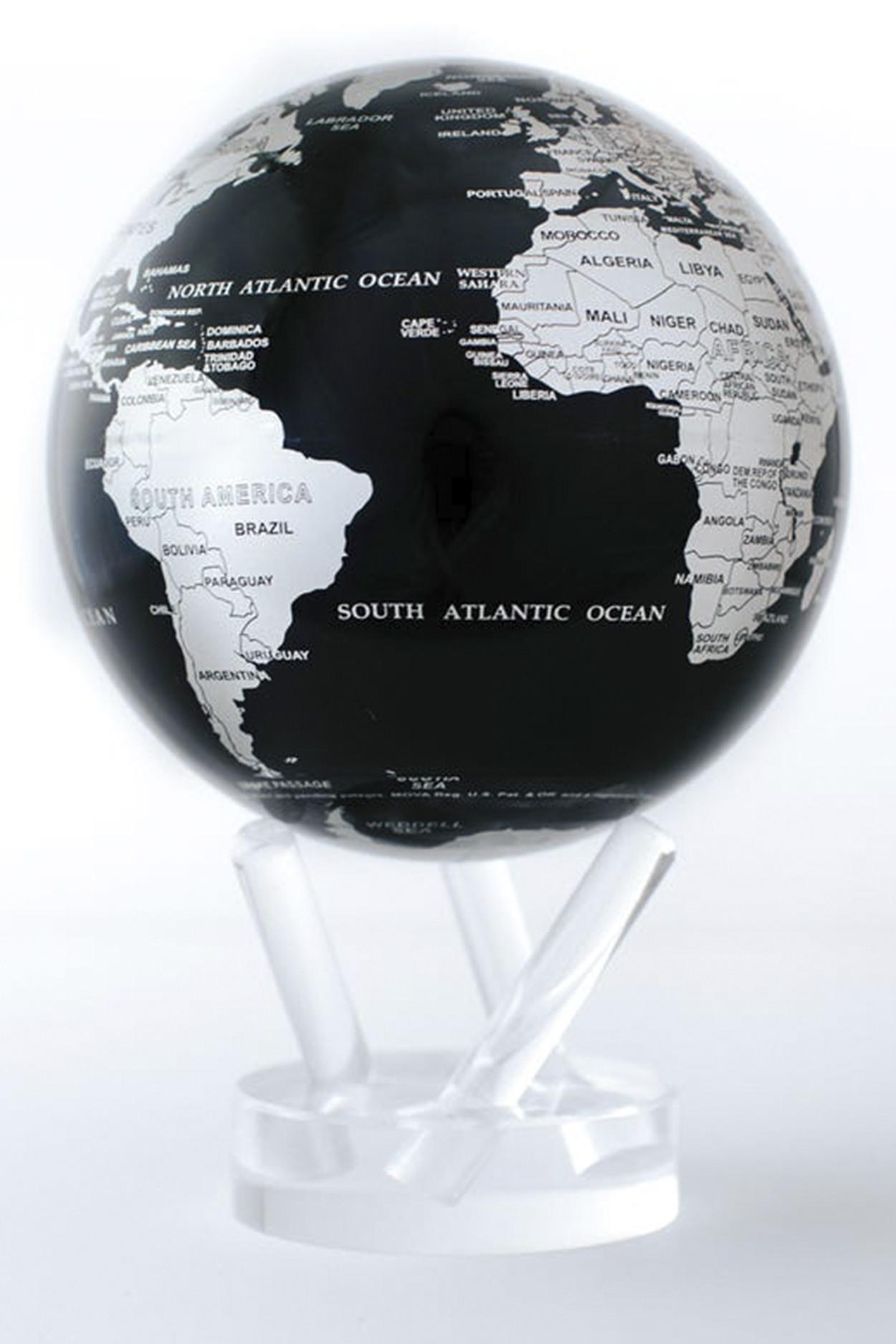 Самовращающийся глобус Mova d16,5 с политический картой мира Серебро