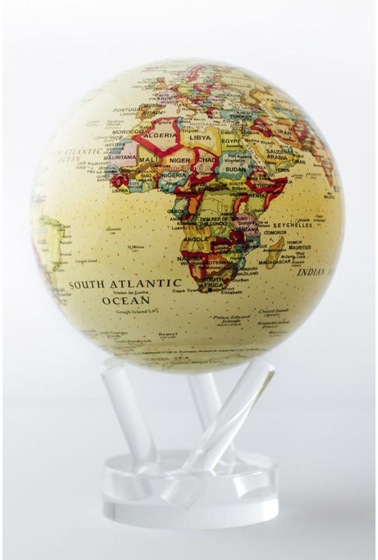Глобус Mova Globe d12 с политической картой мира (бежевый)