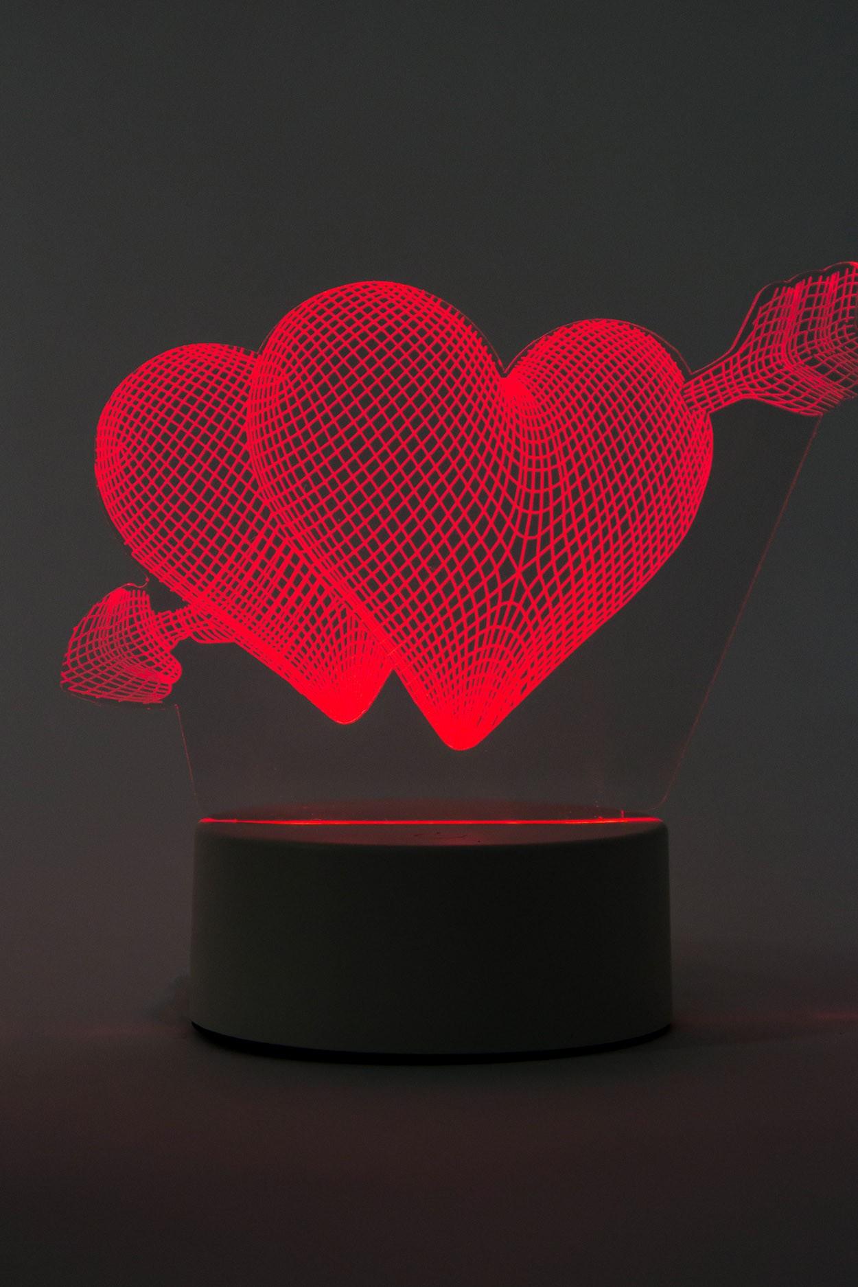 3D светодиодная лампа Сердце со стрелой (красный)
