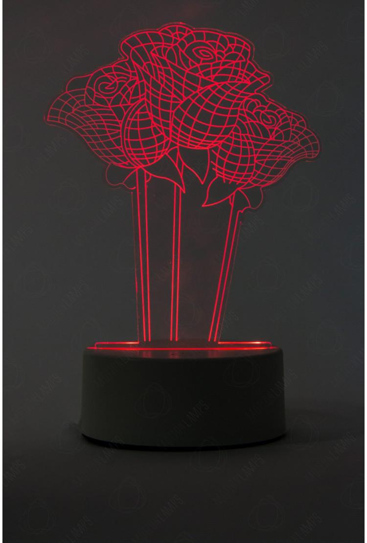 3D светильник Розы 3 шт