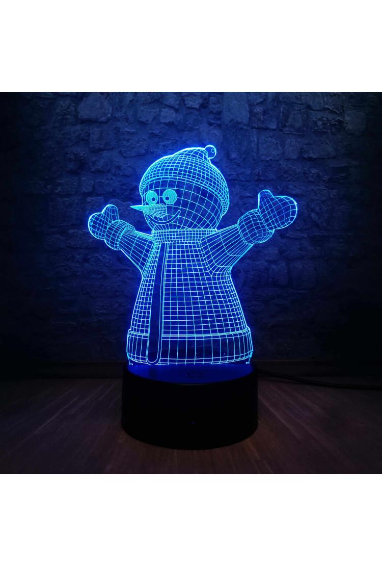 3D светильник Снеговик 3 цвета