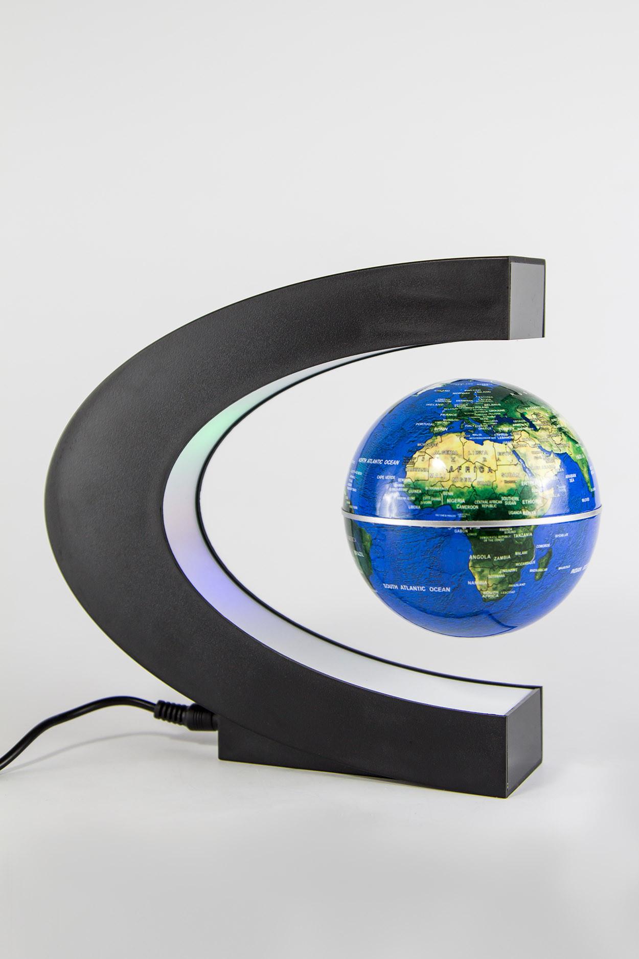 Уцененный товар! Летающий глобус с RGB-подсветкой (синий) (D - 9см)