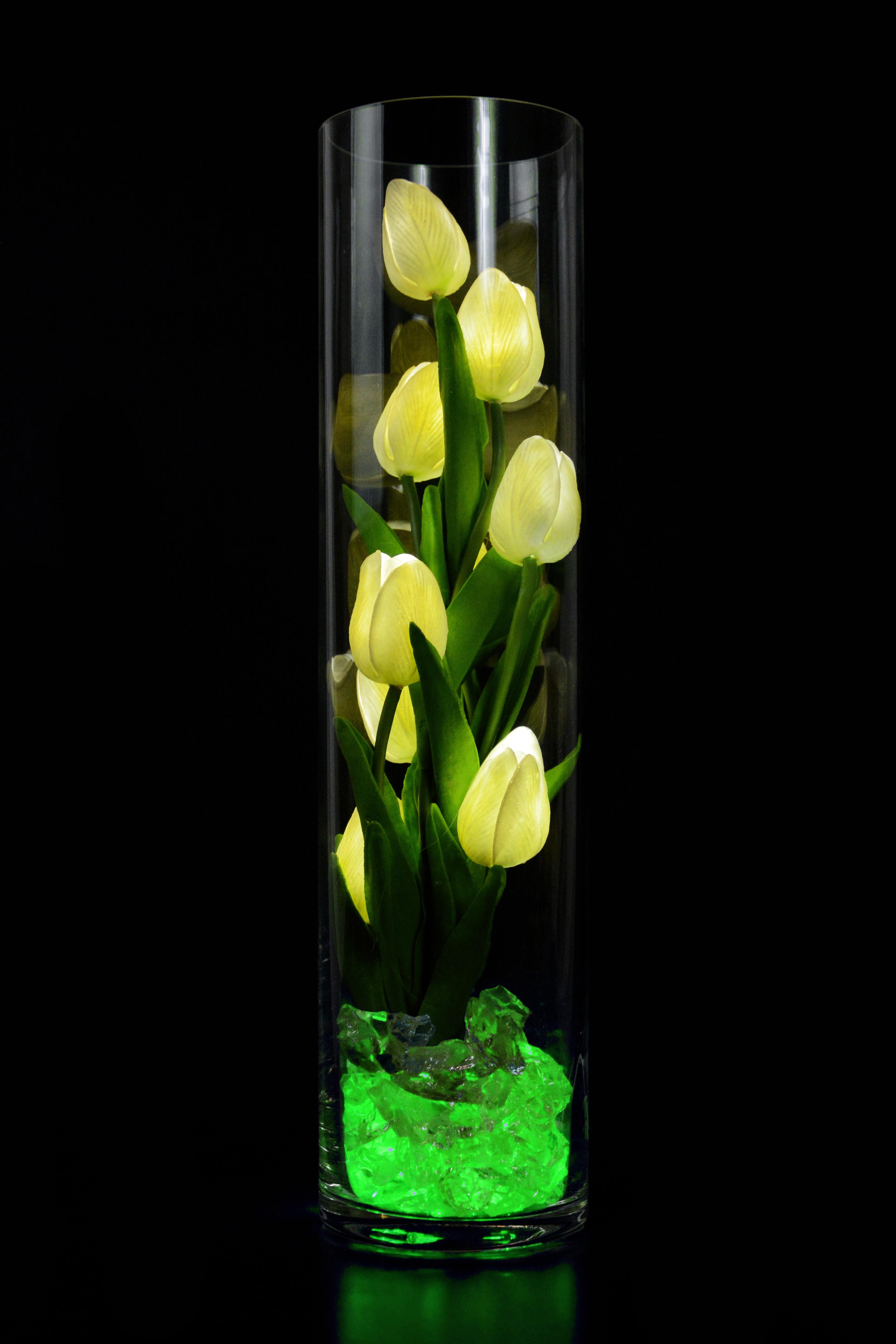 Светящиеся тюльпаны 9шт Белые (зел) 40см