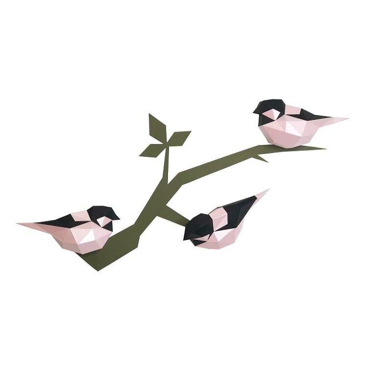 "Декоративная фигура ""Птички (розовые)"" на стену"
