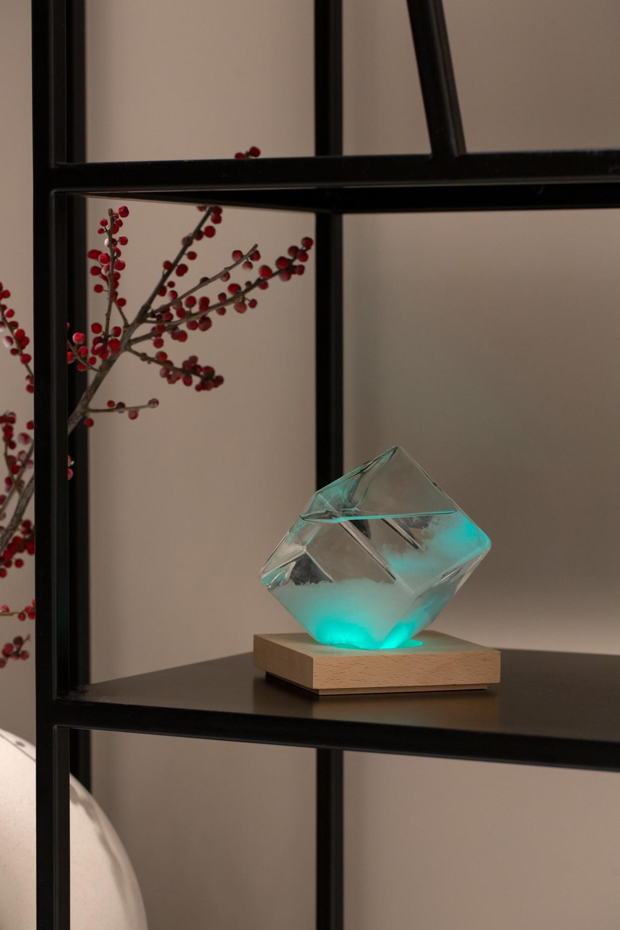 Штормгласс  Куб XL с RGB подсветкой и пультом ДУ (17 см)