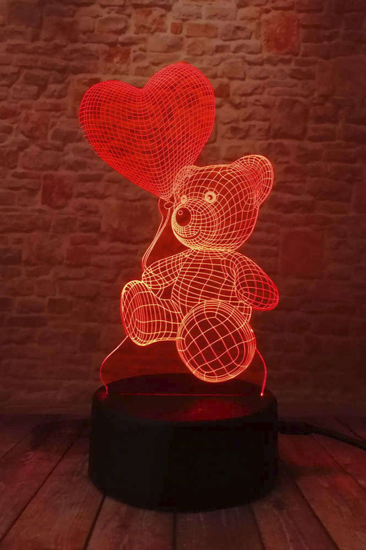 3D ночник МИШКА с сердечком 7 цветов