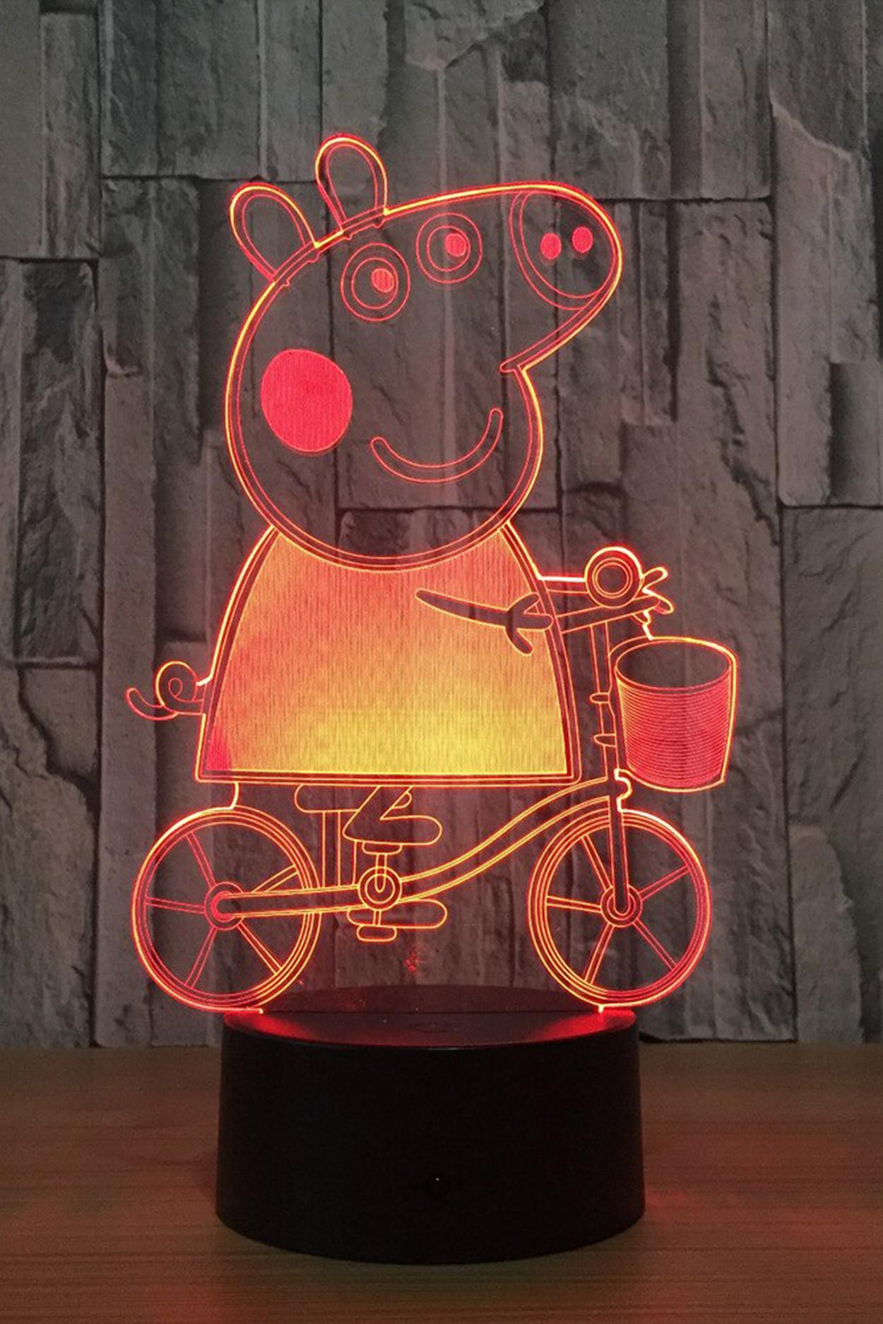 3D ночник Свинка ПЕППА на велосипеде 7 цветов