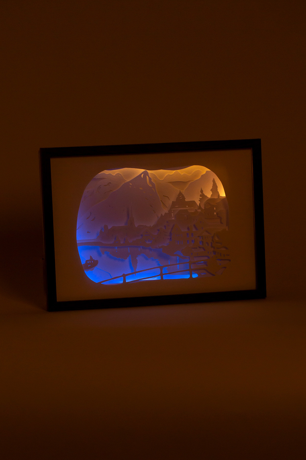 """Ночник картина из бумаги с подсветкой """"Замок у озера"""""""
