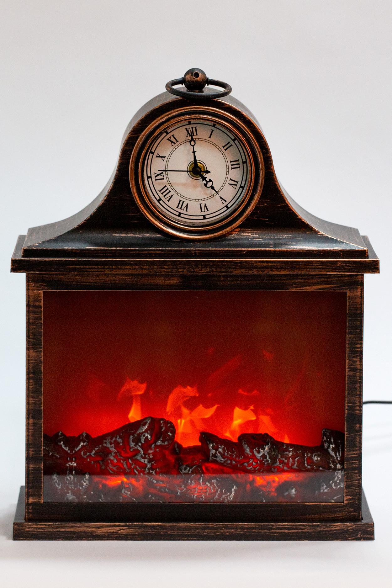 Светодиодный камин с часами бронзовый (30*38*13 см)