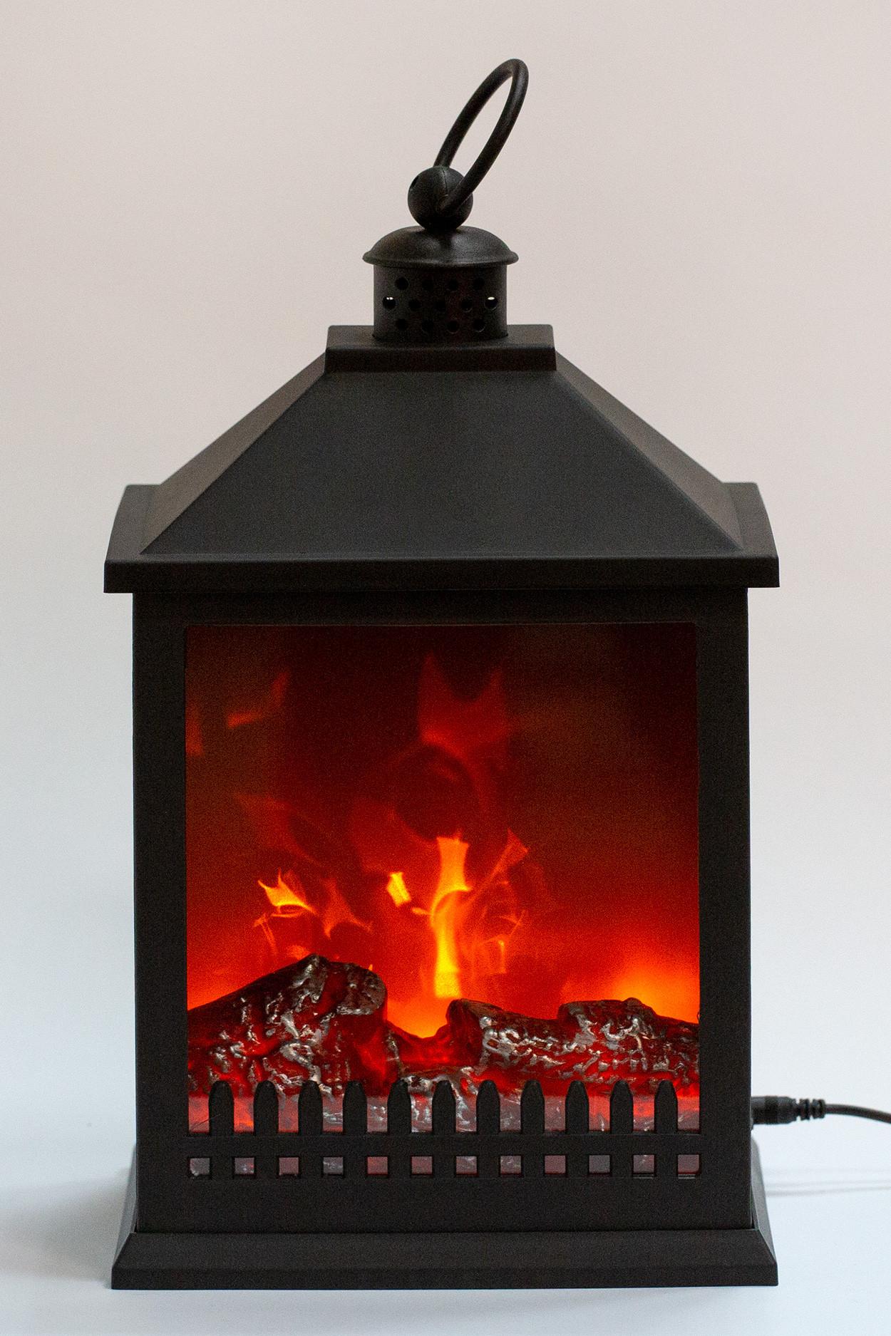 Светодиодный камин средний черный (32*20*15 см)