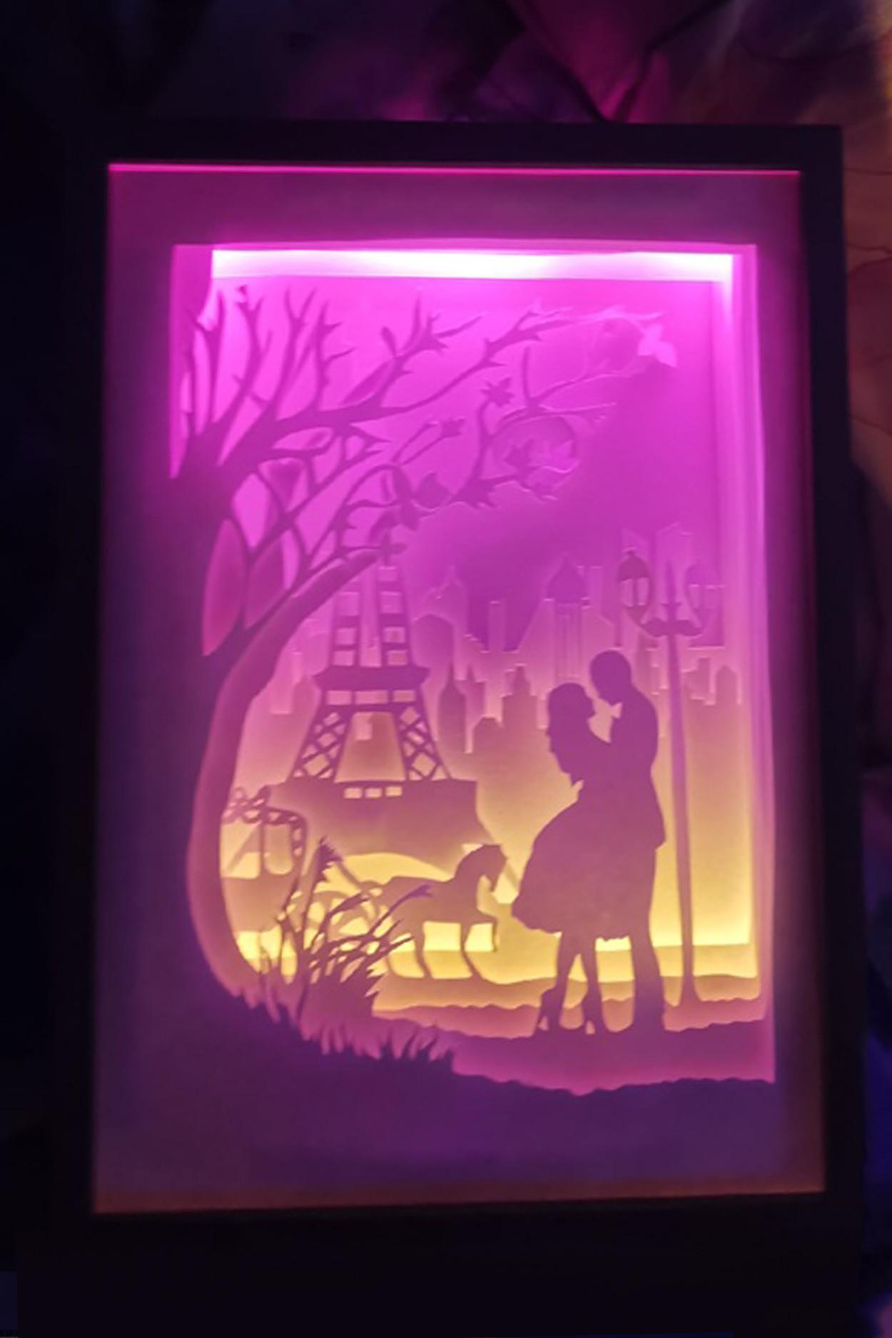 """Ночник картина из бумаги с подсветкой """"Эйфелева башня """""""