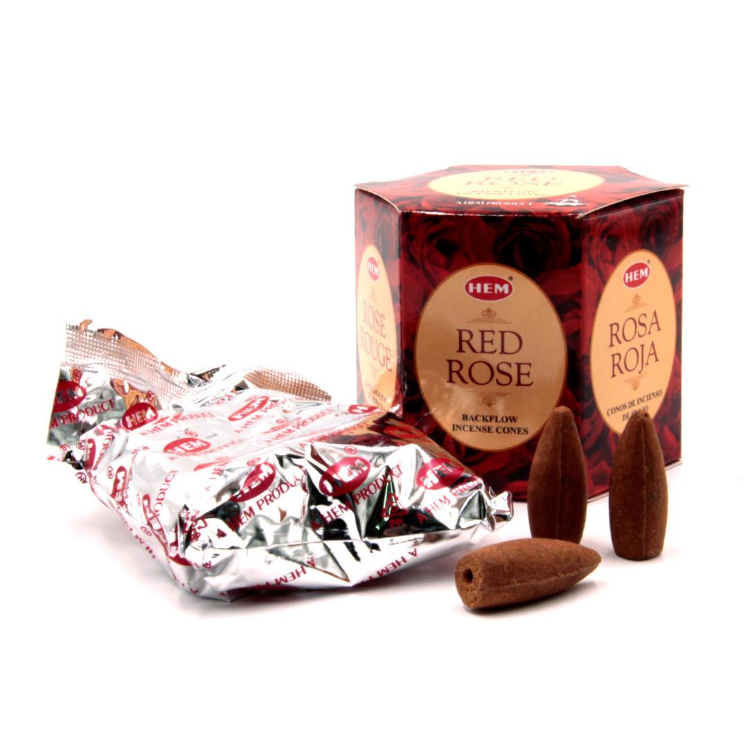 Благовония пуля Back Flow K-HEM-07 Red Rose Красная Роза стелющийся дым конусы НЕМ Индия