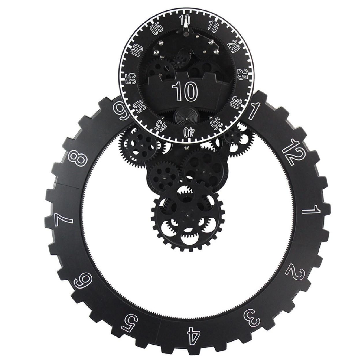 Настенные шестереночные часы, черный (58х47х11 см)