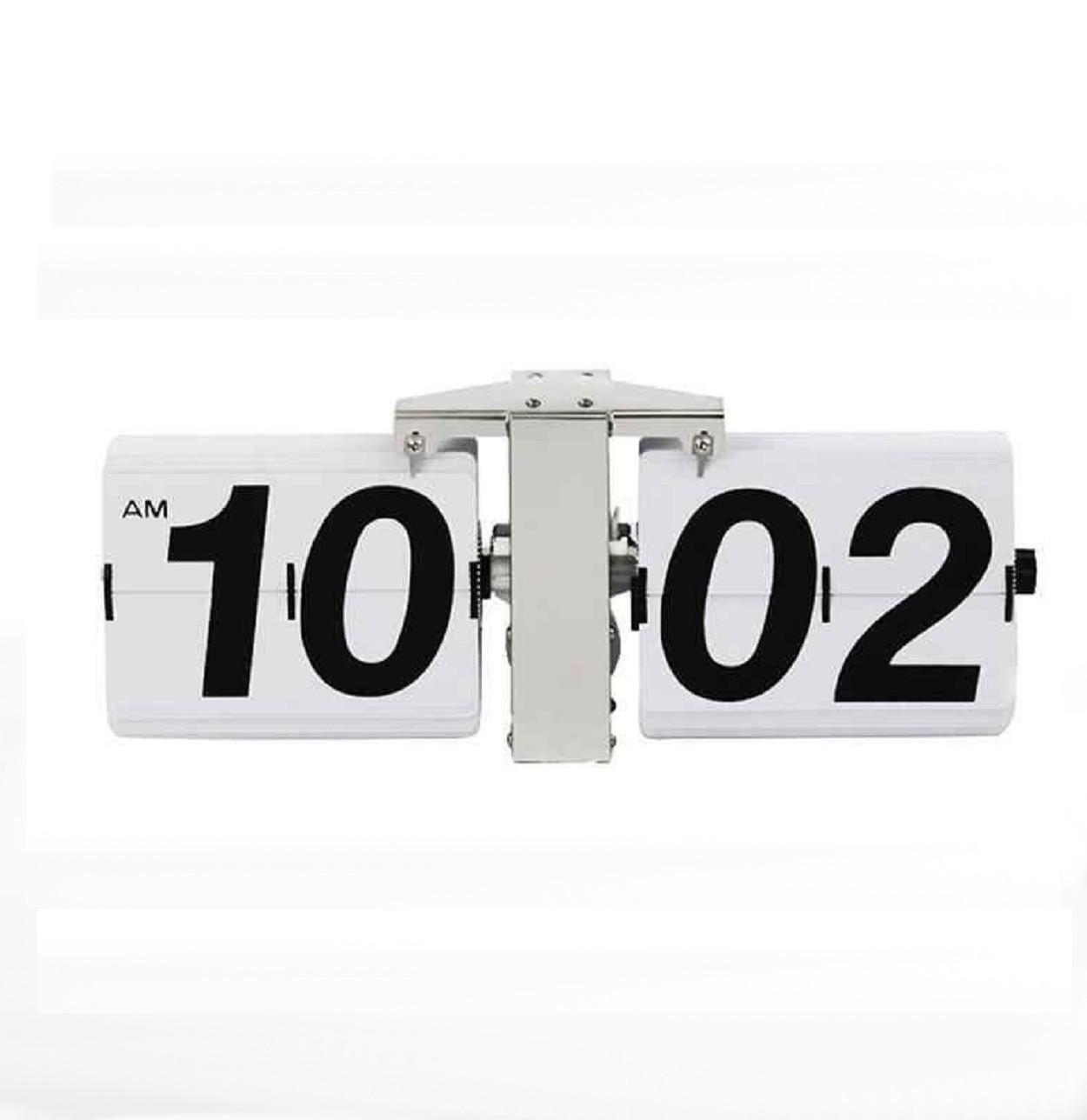 Классические перекидные часы Flip Clock  big, белые (14×36×9 см)