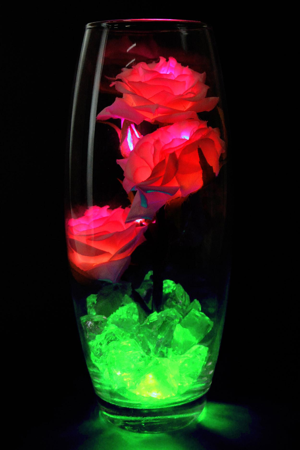 Светодиодные розы 5шт Нежно розовые (Зел)