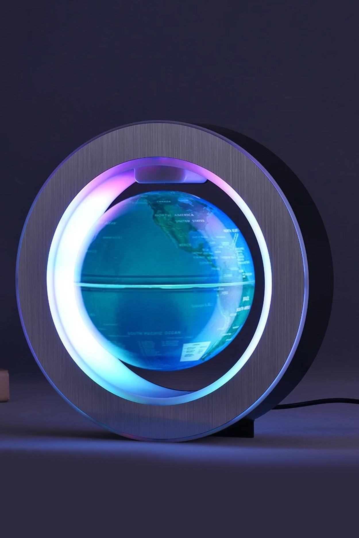 Левитирующий RGB глобус в круглой рамке (D-14см) Синий