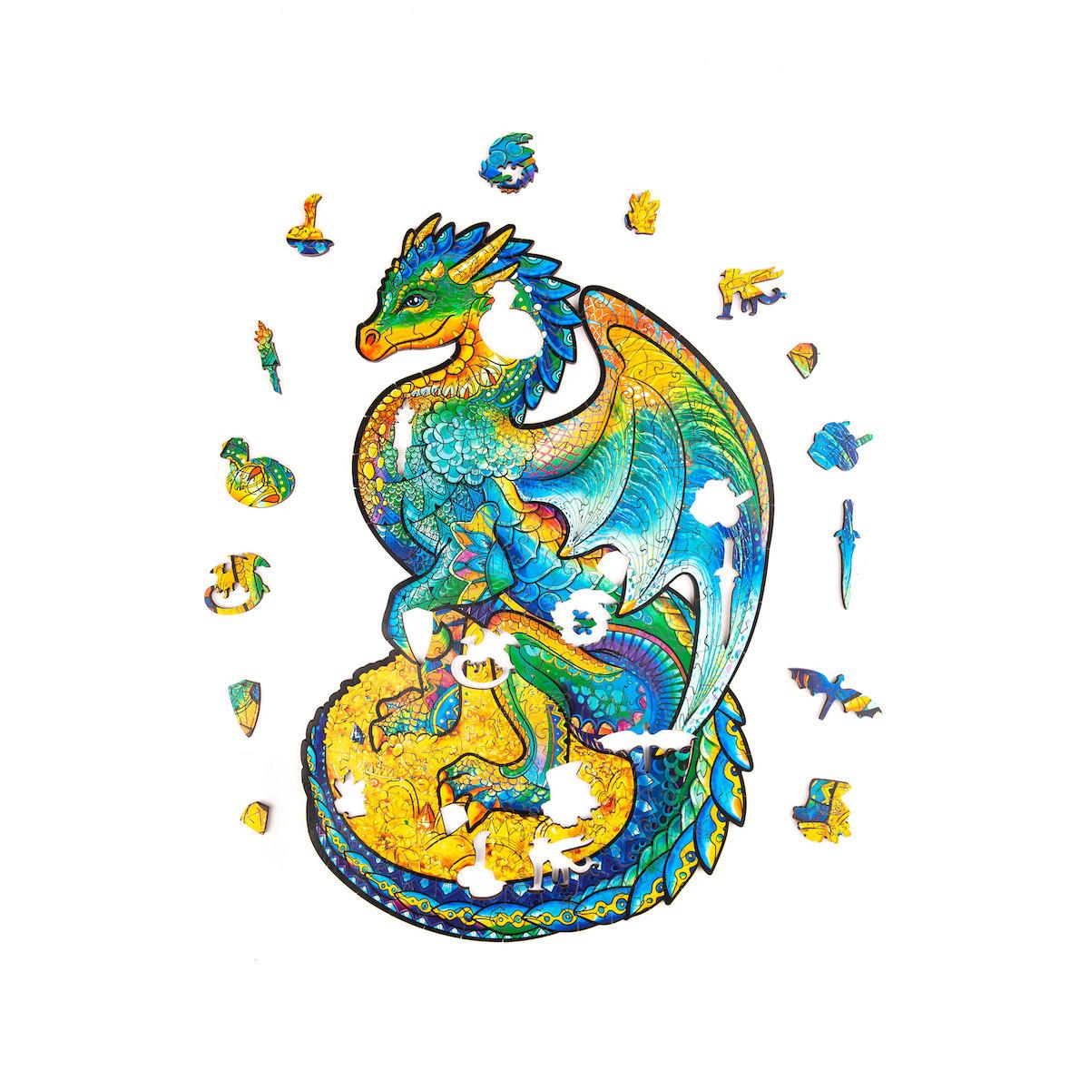 Unidragon деревянный пазл «Оберегающий дракон» M (21х33) А4