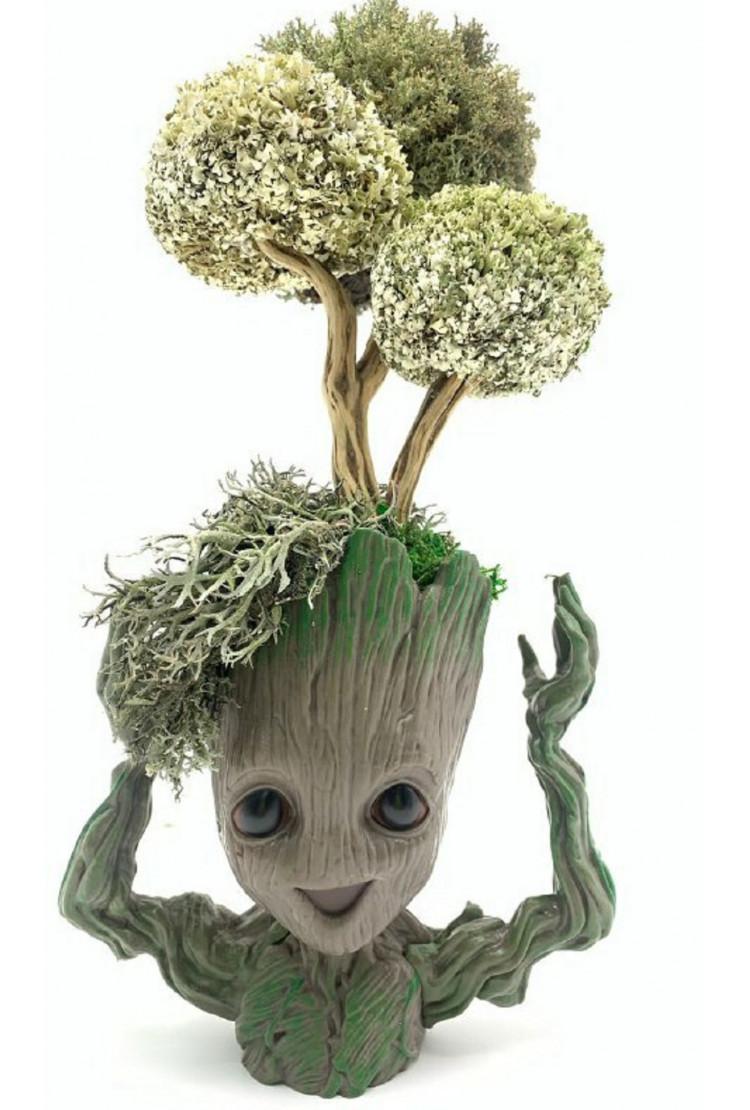 Дерево из цетрарии в кашпо Сказочный Грут, 33 см