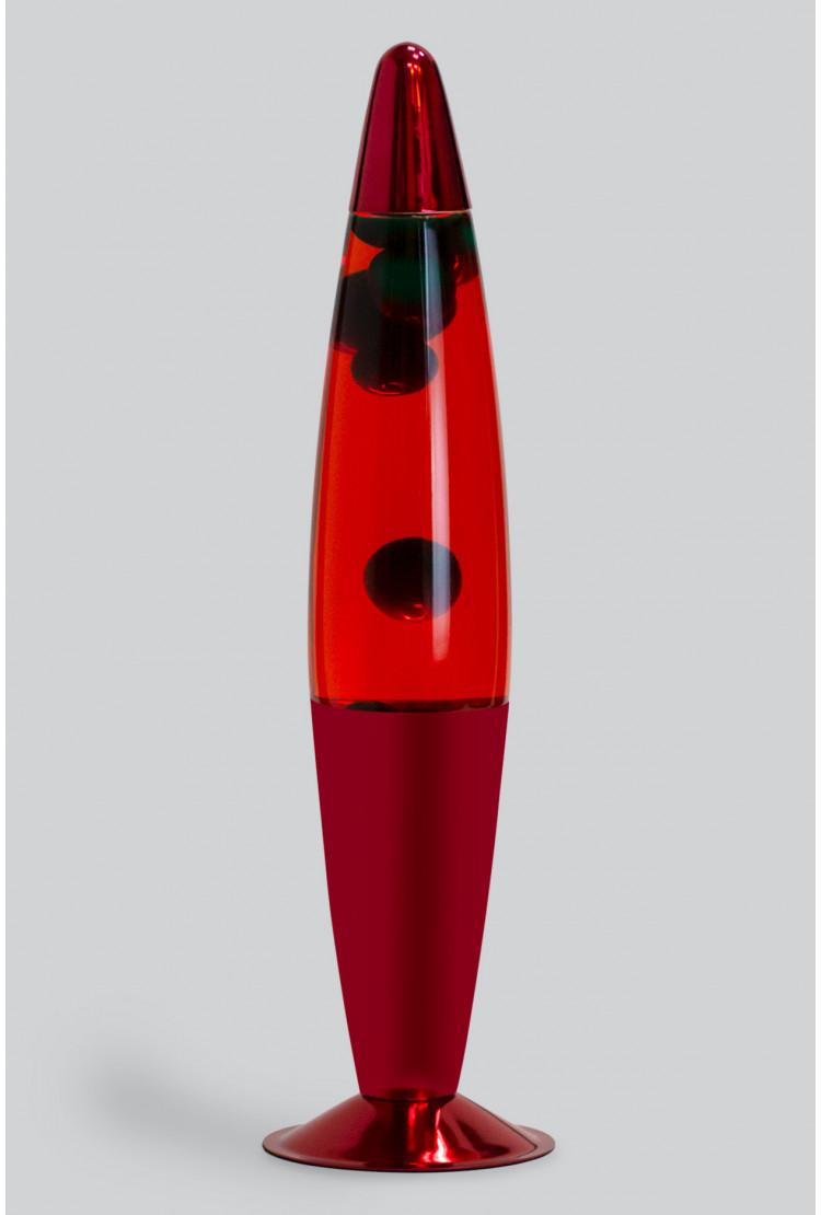 Лава-лампа 41см Зелёная/Красная (Воск) Хром