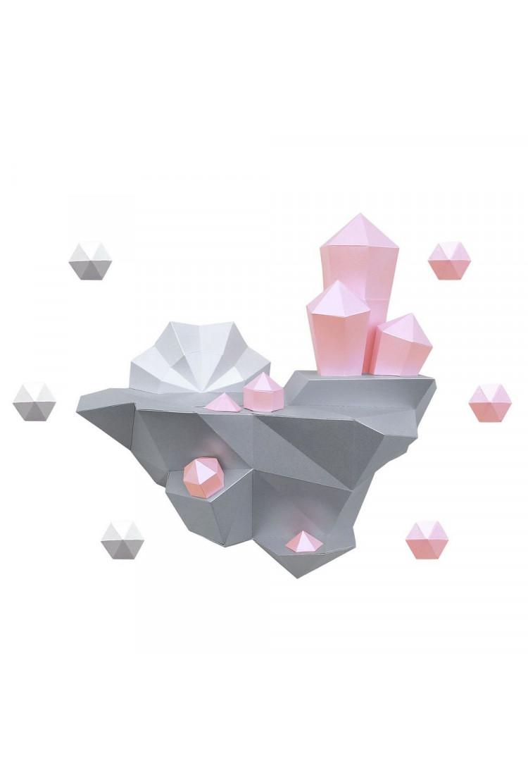 """3D-модель Paperraz """"ОСТРОВ С КРИСТАЛЛАМИ (розовый)"""" на стену"""