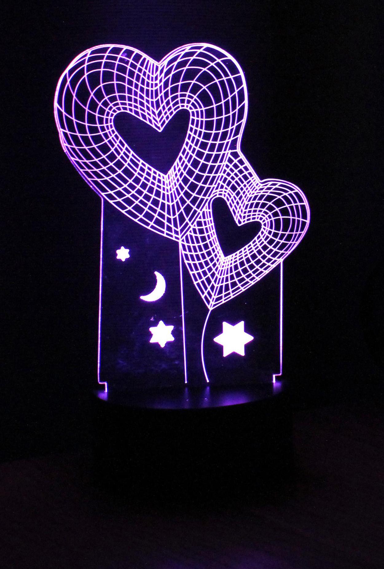 3D ночник Двойное Сердце ST 7 цветов