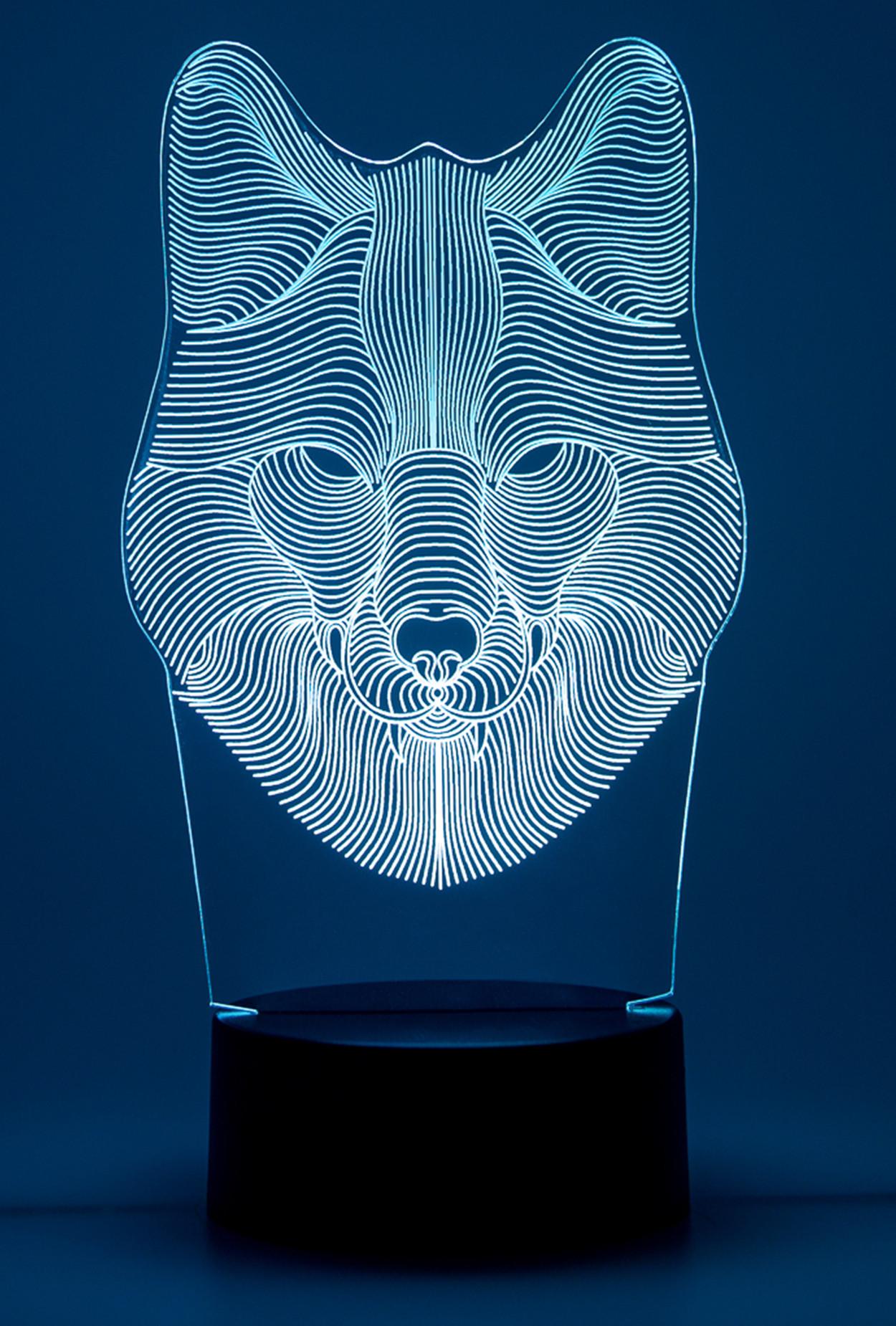 Светодиодный 3D ночник Волк ST 7 цветов