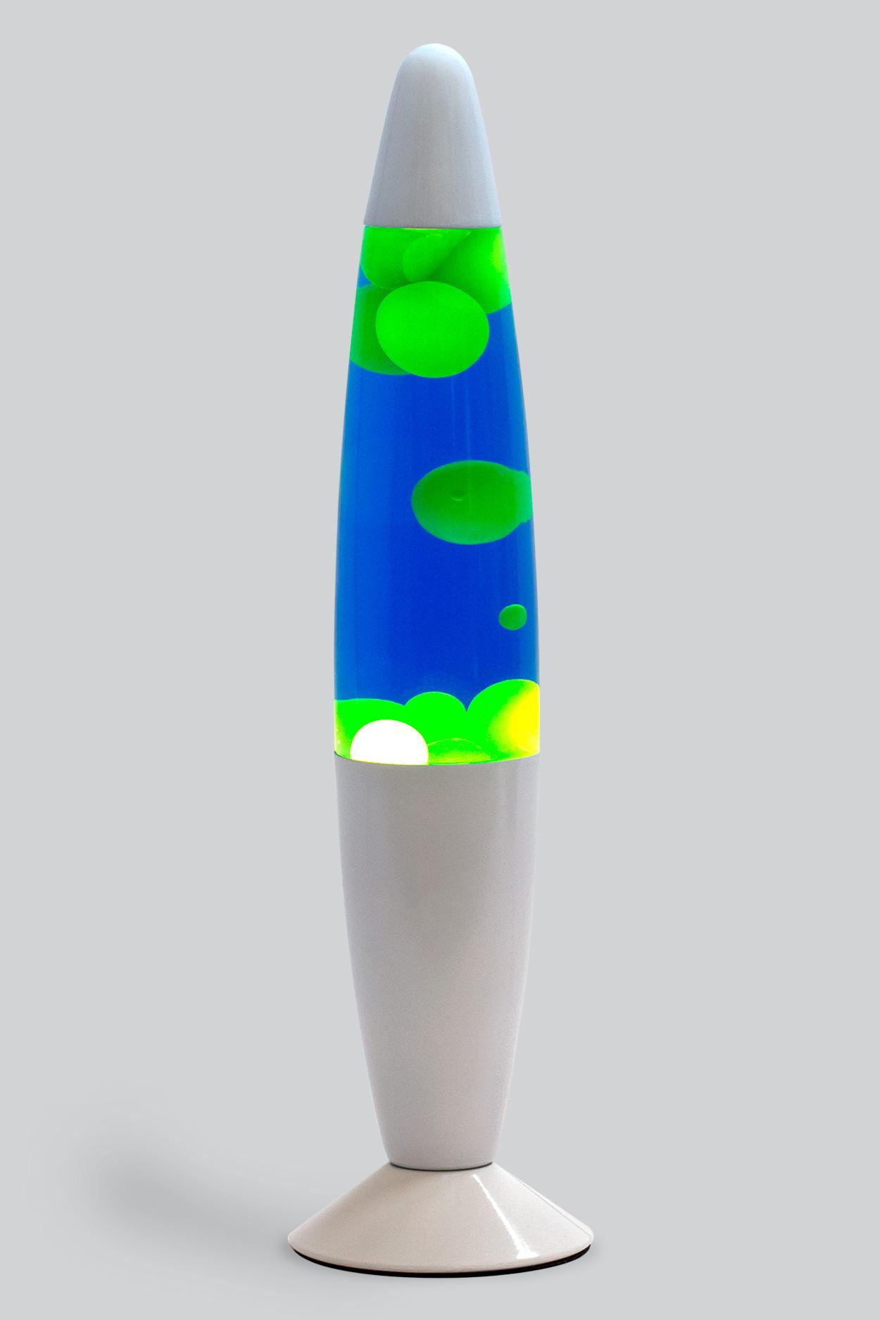 Лава-лампа 35см  Желтая/Синяя (Воск) White