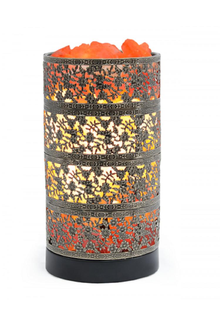Декоративная соляная лампа-камин  «Цилиндр Бронза»