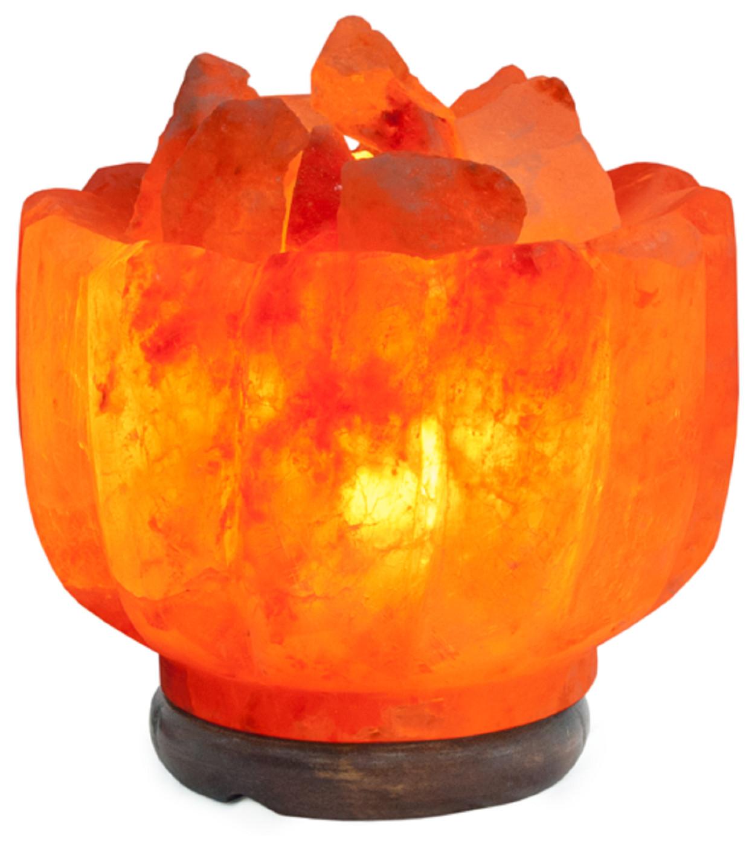 Декоративно-обработанная соляная лампа  в комплекте «Ваза с камнями»