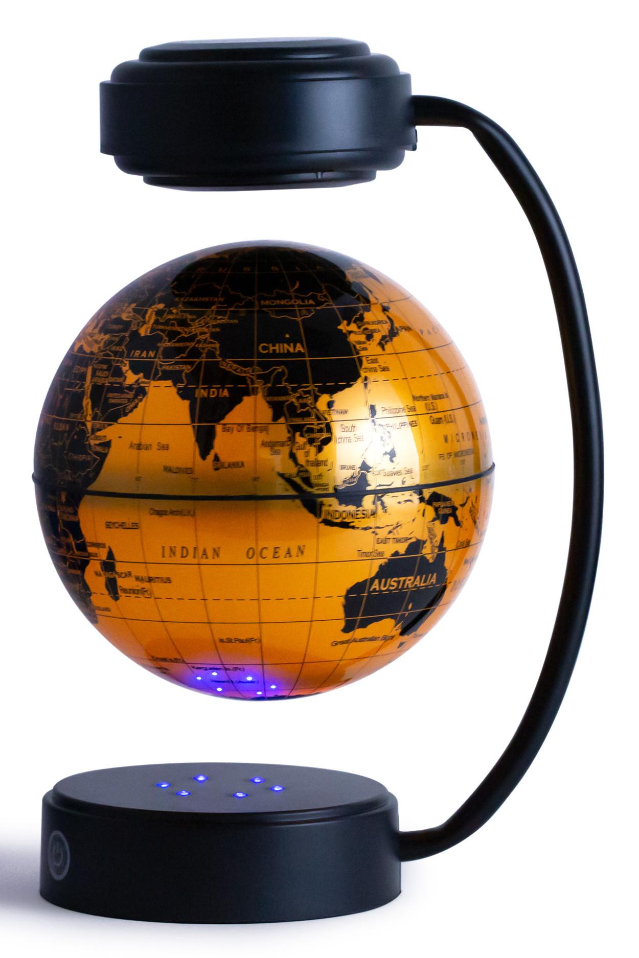 Левитирующий светящийся глобус золотой (D-14 см) политический