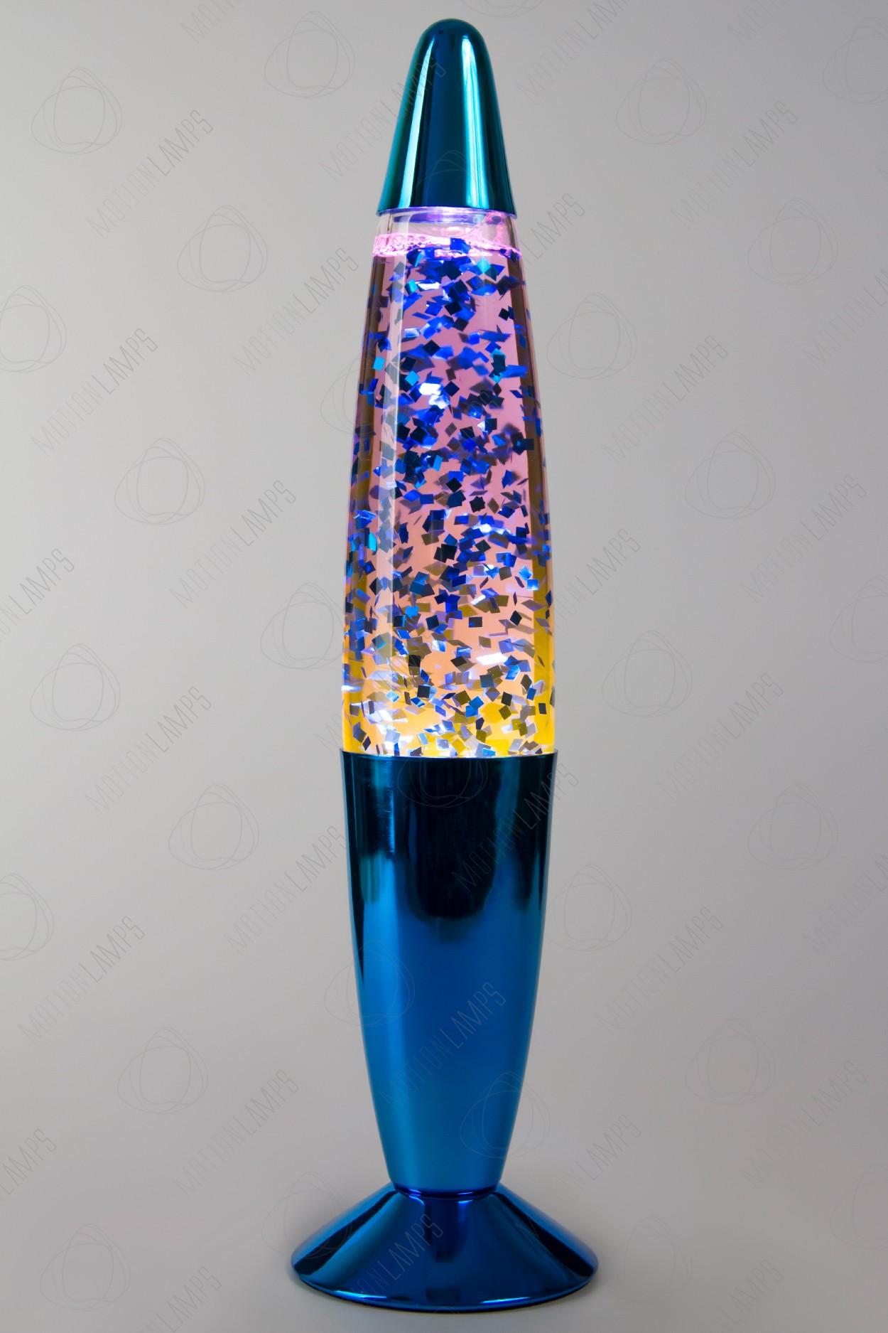 Лава-лампа 35см Хром Синяя/Фиолетовые блёстки (Глиттер)