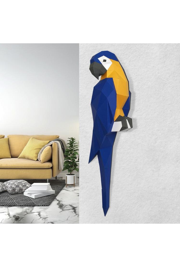 "3D-модель Paperraz  ""ПОПУГАЙ АРА (синий)"" на стену"