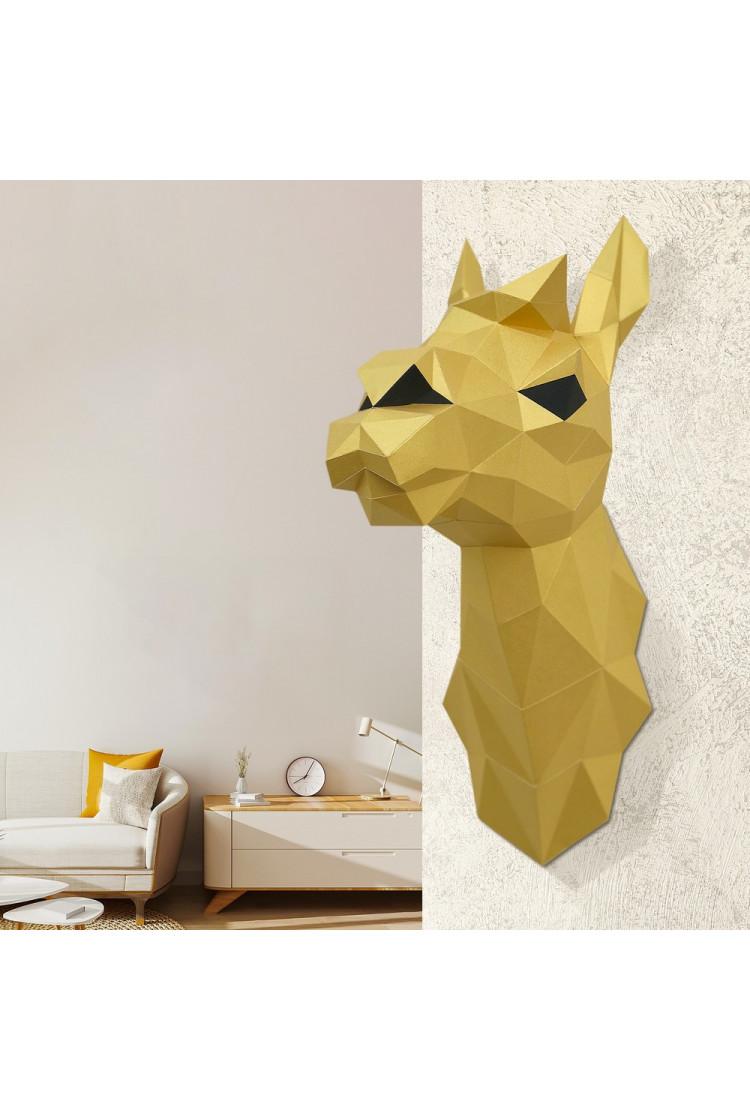 "3D-модель Paperraz  ""ЛАМА СВЕТЛАНА (золотая)"" на стену"