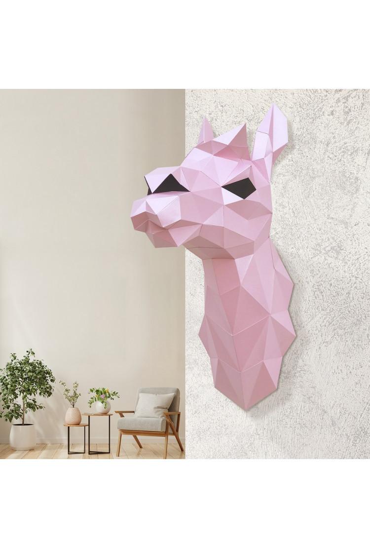 "3D-модель Paperraz  ""ЛАМА ДИАНА (розовая)"" на стену"