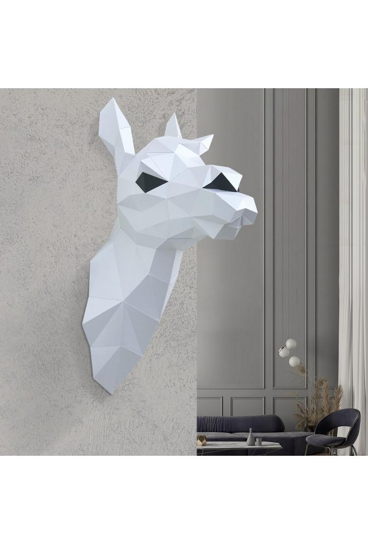 "3D-модель Paperraz  ""ЛАМА СНЕЖАНА (белая)"" на стену"