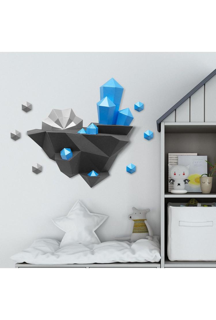 """3D-модель Paperraz """"ОСТРОВ С КРИСТАЛЛАМИ (лазурный)"""" на стену"""