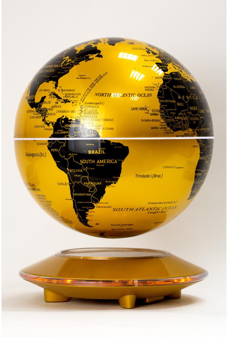 Левитирующий глобус Золотой (D-20см) на золотой платформе