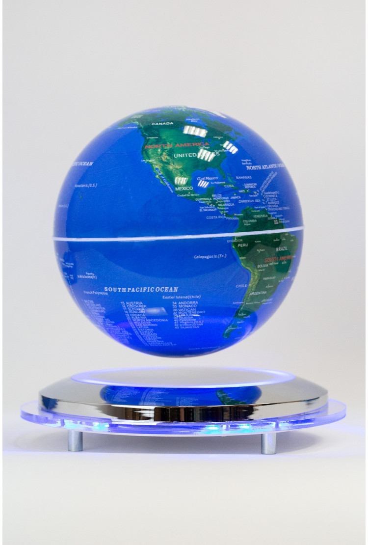 Левитирующий глобус Земля из космоса (D-14 см) на зеркальной подставке
