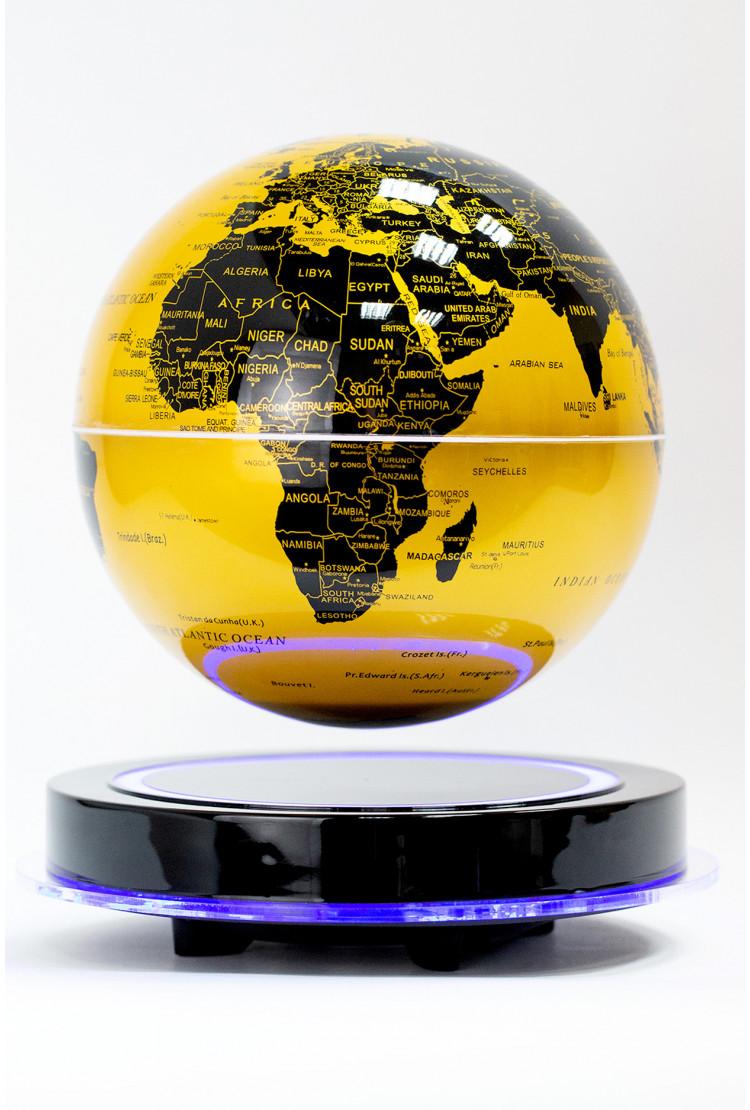 Левитирующий глобус золотой Земля (D-20см) на черной платформе