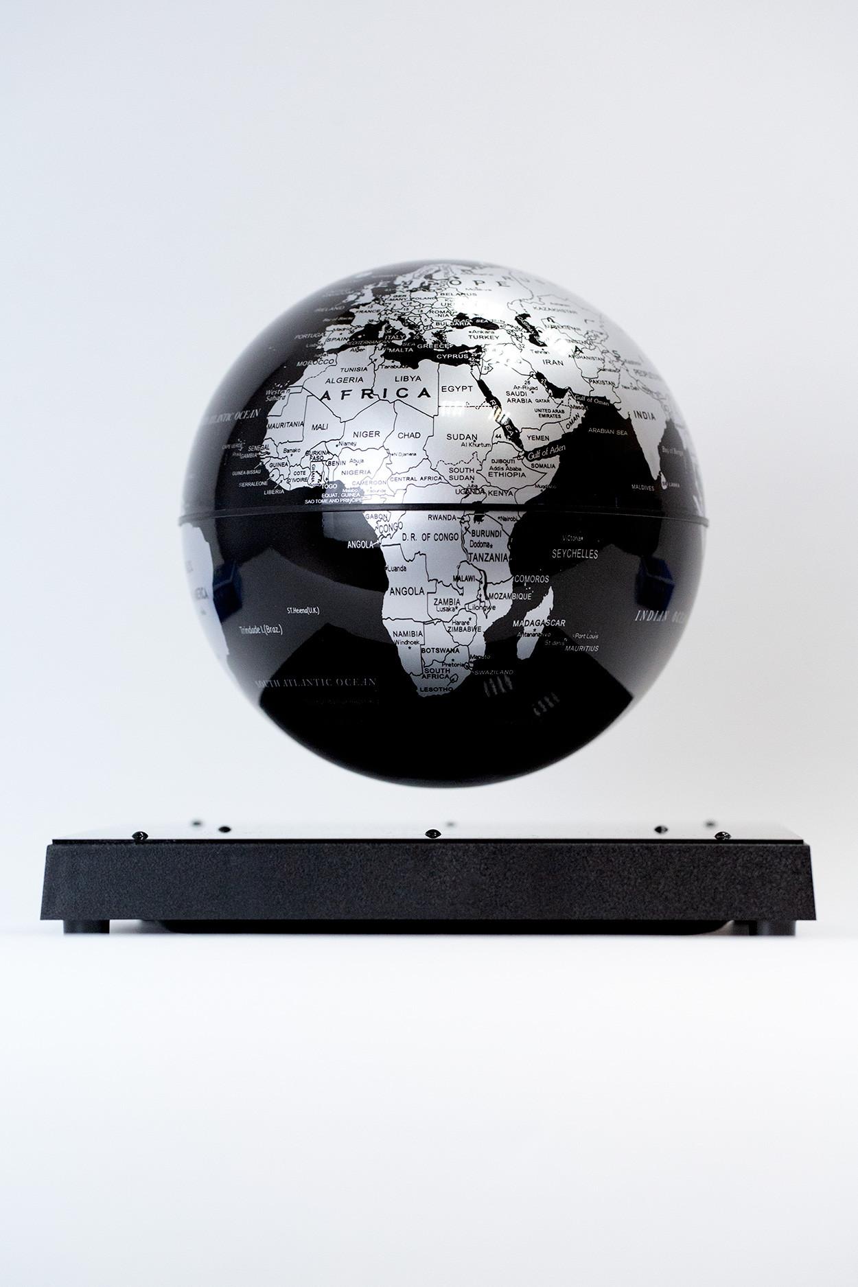 Левитирующий глобус на квадратной подставке Земля (D 14см) черный