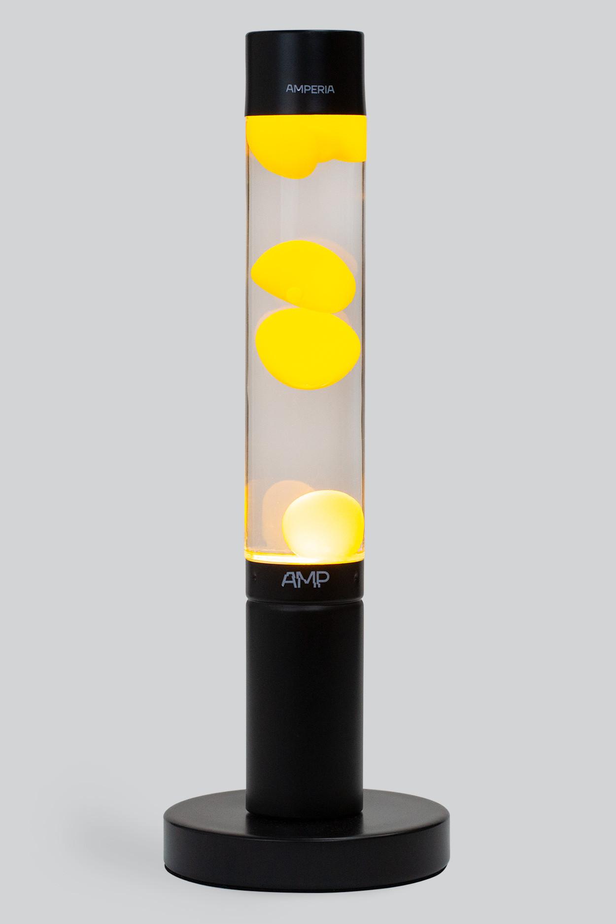 Лава лампа Amperia Slim Black Желтая/Прозрачная (39 см)