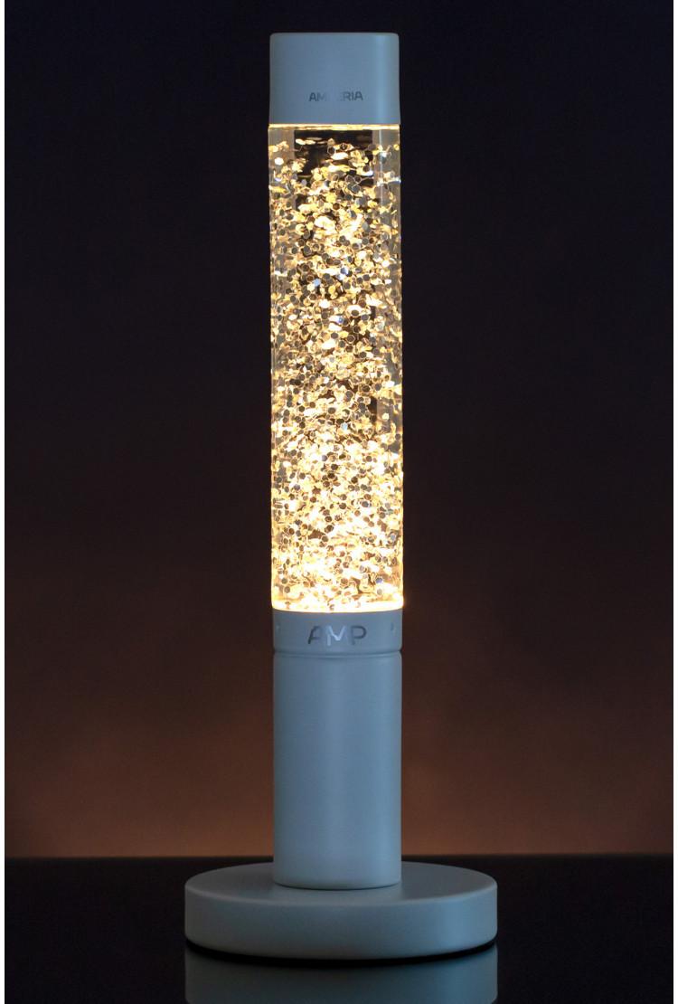 Лава лампа Amperia Slim White Сияние (глиттер) (39 см)