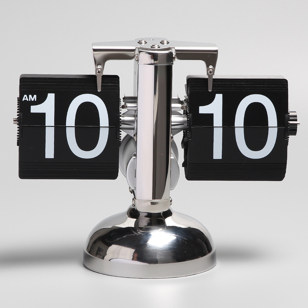 Классические перекидные часы Flip-clock хром BL (16,6*21*9,8 см)