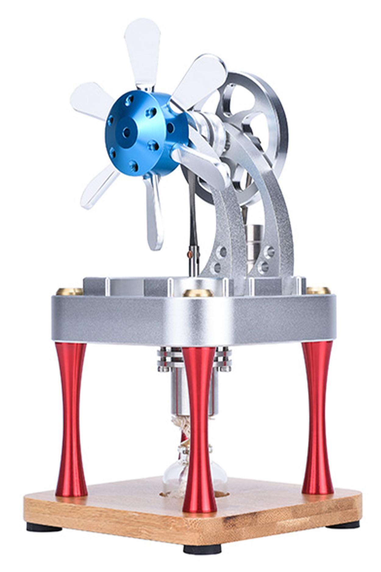 Двигатель Стирлинга вертикальный с лопастями (М16-CF) 105х105х218 мм